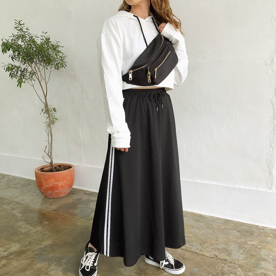 ウエストゴムサイドラインロングスカート スカート ボトムス 6