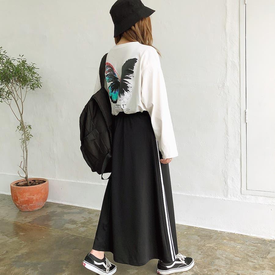 ウエストゴムサイドラインロングスカート スカート ボトムス 8