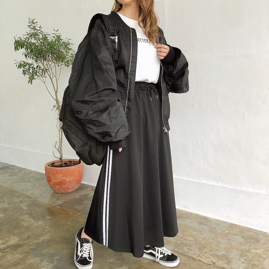 ウエストゴムサイドラインロングスカート スカート ボトムス 9
