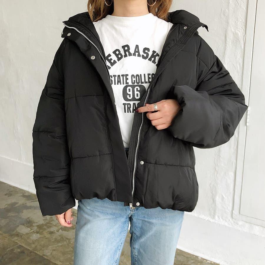 ゆったりフード中綿ZIPブルゾン 秋 冬 ブルゾン コート アウター 防寒 中綿 トップス ゆったり  2