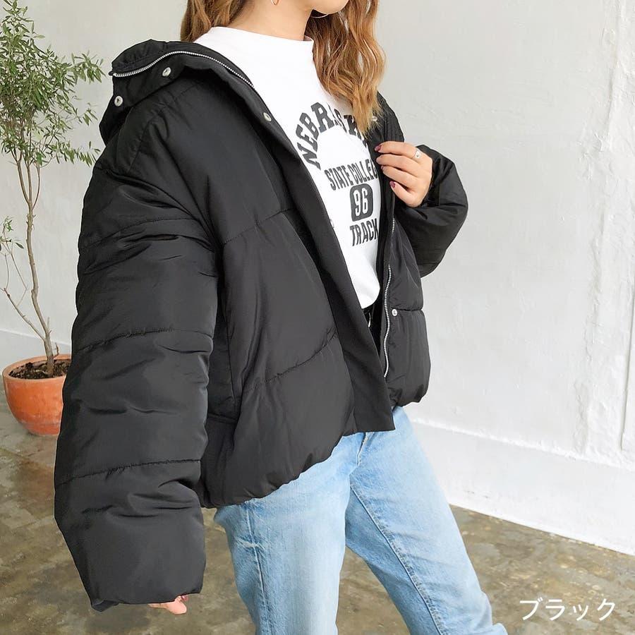 ゆったりフード中綿ZIPブルゾン 秋 冬 ブルゾン コート アウター 防寒 中綿 トップス ゆったり  21
