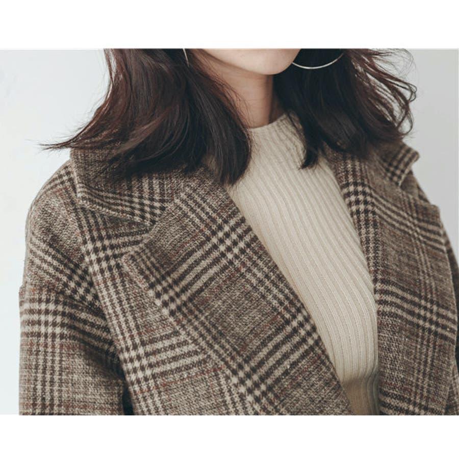 グレンチェック1つ釦ビッグジャケット アウター チェック 羽織 ジャケット ゆったり 秋 冬 2