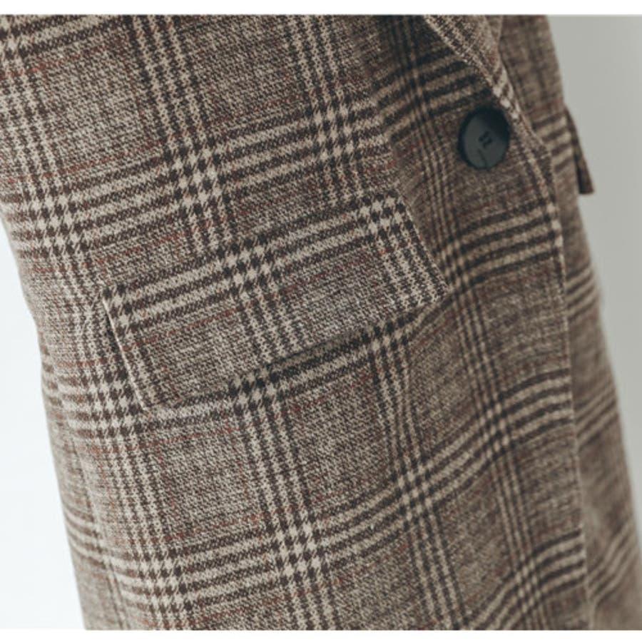 グレンチェック1つ釦ビッグジャケット アウター チェック 羽織 ジャケット ゆったり 秋 冬 3