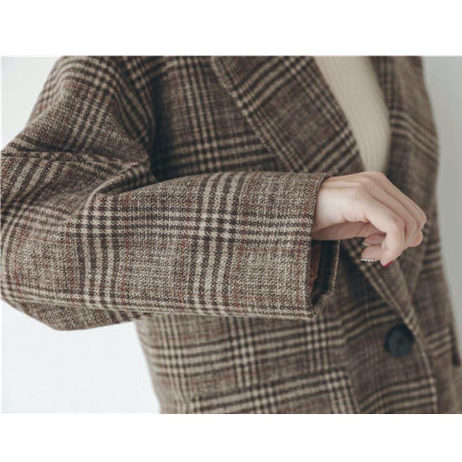 グレンチェック1つ釦ビッグジャケット アウター チェック 羽織 ジャケット ゆったり 秋 冬 4