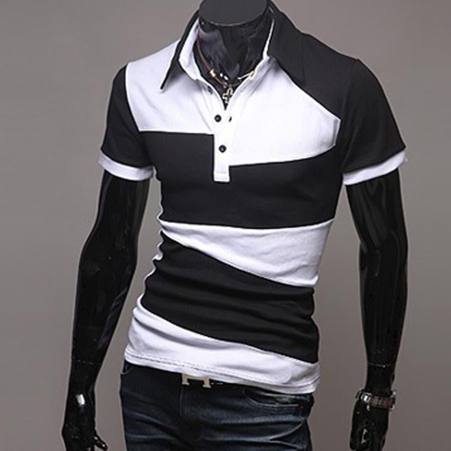 ポロシャツ メンズ Tシャツ カットソー 半袖 無地 ゴルフウェア ストレッチ トップス カジュアル コーデ 黒 白 夏 2