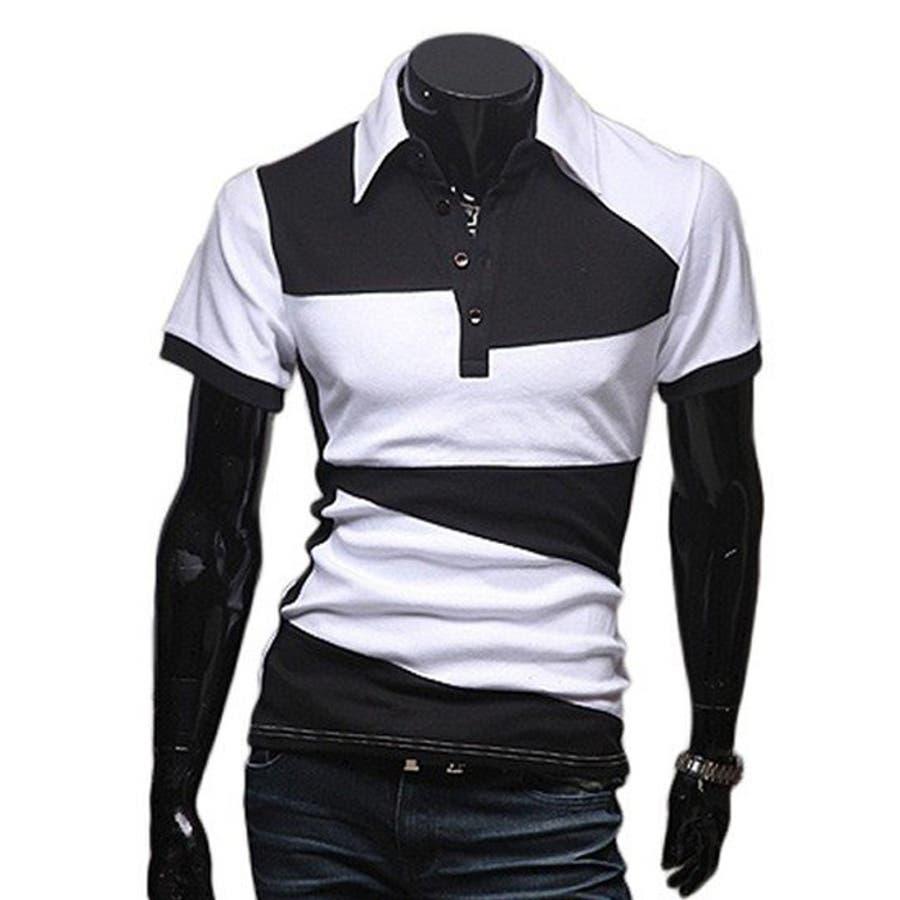 ポロシャツ メンズ Tシャツ カットソー 半袖 無地 ゴルフウェア ストレッチ トップス カジュアル コーデ 黒 白 夏 1