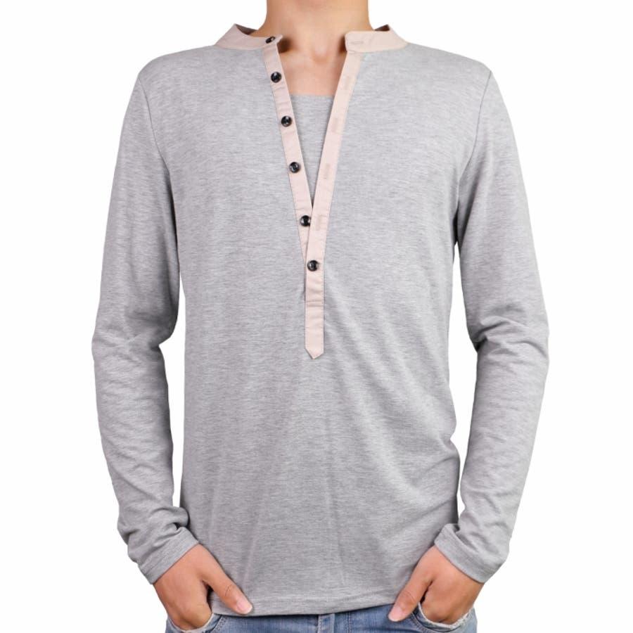 Tシャツ カットソー メンズ ヘンリーネック 長袖 無地 ロングスリーブ トップス キレイめ コーデ 黒 白 グレー 23