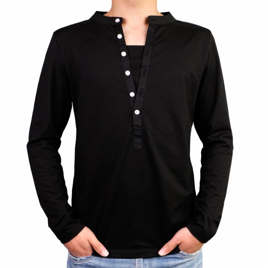 Tシャツ カットソー メンズ ヘンリーネック 長袖 無地 ロングスリーブ トップス キレイめ コーデ 黒 白 グレー 21
