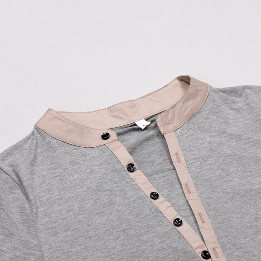 Tシャツ カットソー メンズ ヘンリーネック 長袖 無地 ロングスリーブ トップス キレイめ コーデ 黒 白 グレー 4