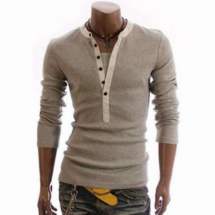 Tシャツ カットソー メンズ ヘンリーネック 長袖 無地 ロングスリーブ トップス キレイめ コーデ 黒 白 グレー 6