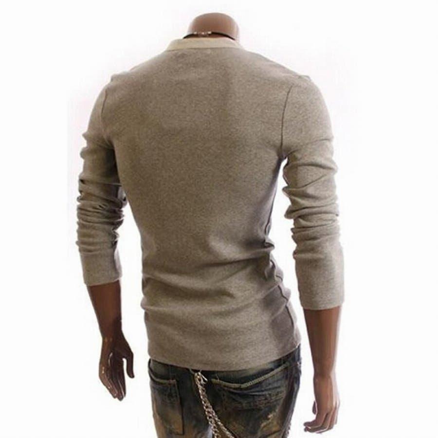 Tシャツ カットソー メンズ ヘンリーネック 長袖 無地 ロングスリーブ トップス キレイめ コーデ 黒 白 グレー 7