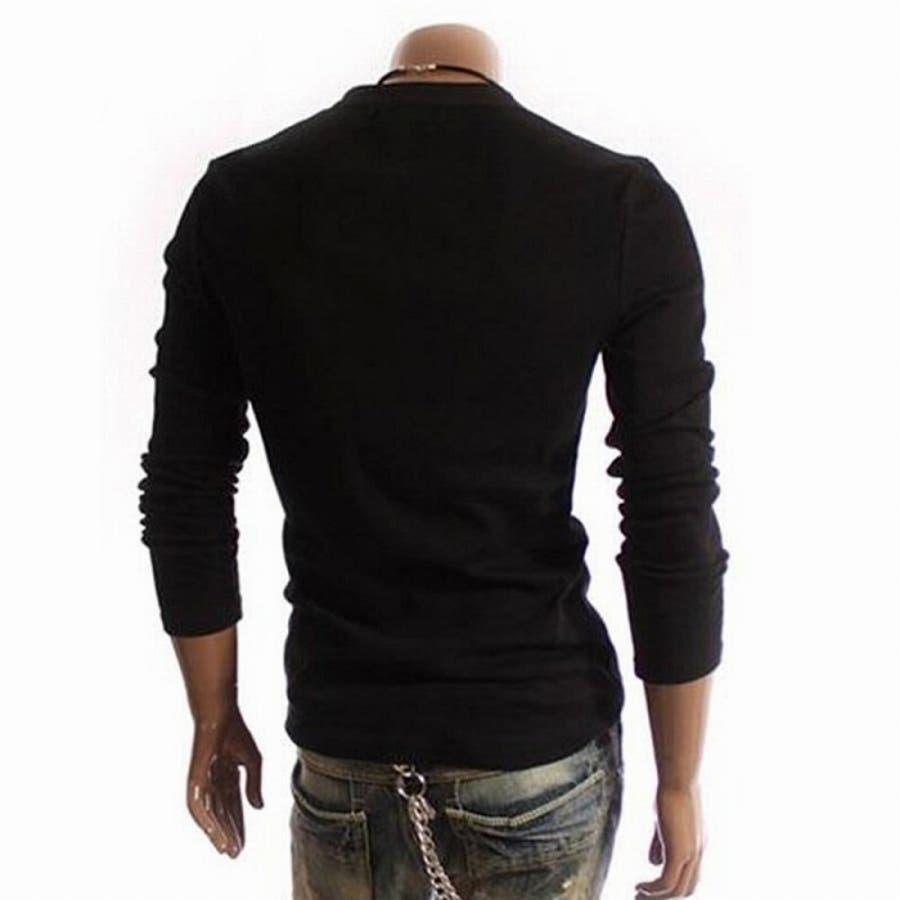 Tシャツ カットソー メンズ ヘンリーネック 長袖 無地 ロングスリーブ トップス キレイめ コーデ 黒 白 グレー 8