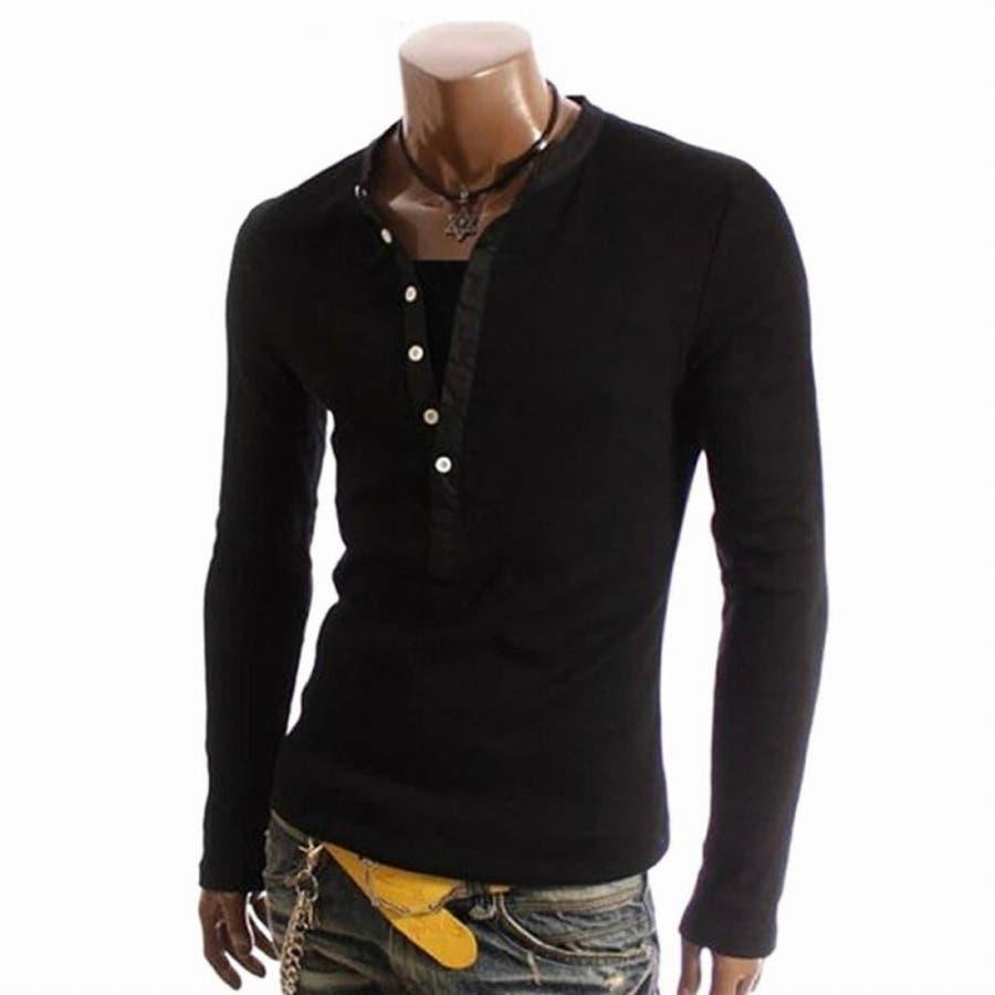 Tシャツ カットソー メンズ ヘンリーネック 長袖 無地 ロングスリーブ トップス キレイめ コーデ 黒 白 グレー 9
