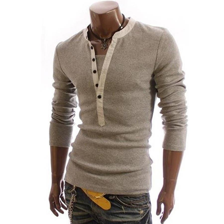 Tシャツ カットソー メンズ ヘンリーネック 長袖 無地 ロングスリーブ トップス キレイめ コーデ 黒 白 グレー 1