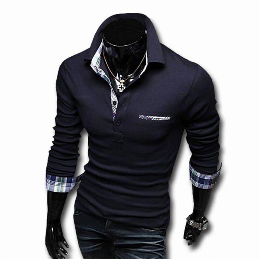 ポロシャツ メンズ Tシャツ カットソー 長袖 ロンT チェック ゴルフウェア トップス カジュアル コーデ 61