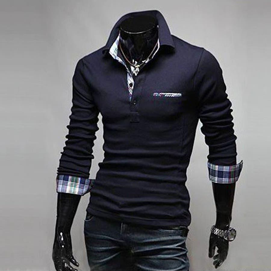 ポロシャツ メンズ Tシャツ カットソー 長袖 ロンT チェック ゴルフウェア トップス カジュアル コーデ 3