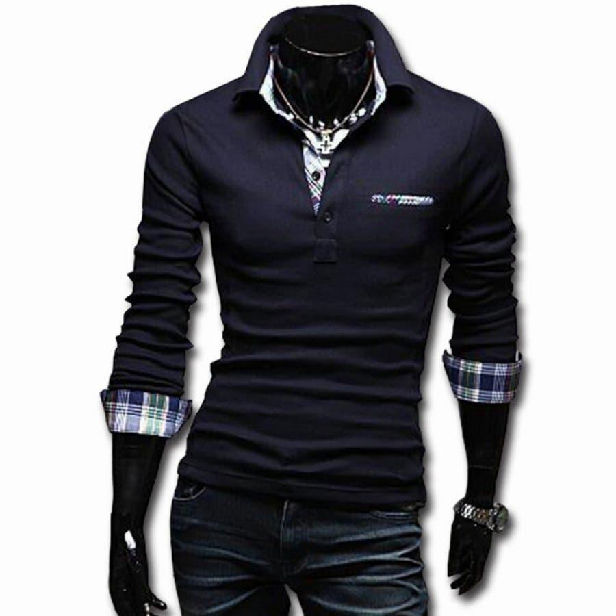 ポロシャツ メンズ Tシャツ カットソー 長袖 ロンT チェック ゴルフウェア トップス カジュアル コーデ 4
