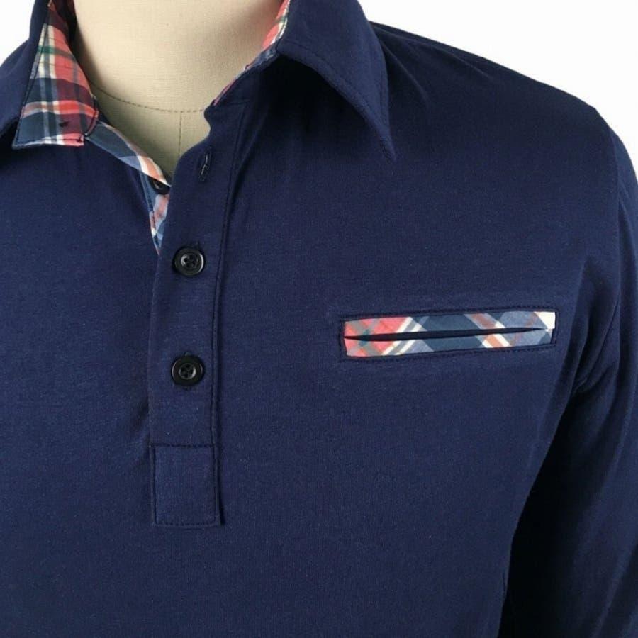 ポロシャツ メンズ Tシャツ カットソー 長袖 ロンT チェック ゴルフウェア トップス カジュアル コーデ 5