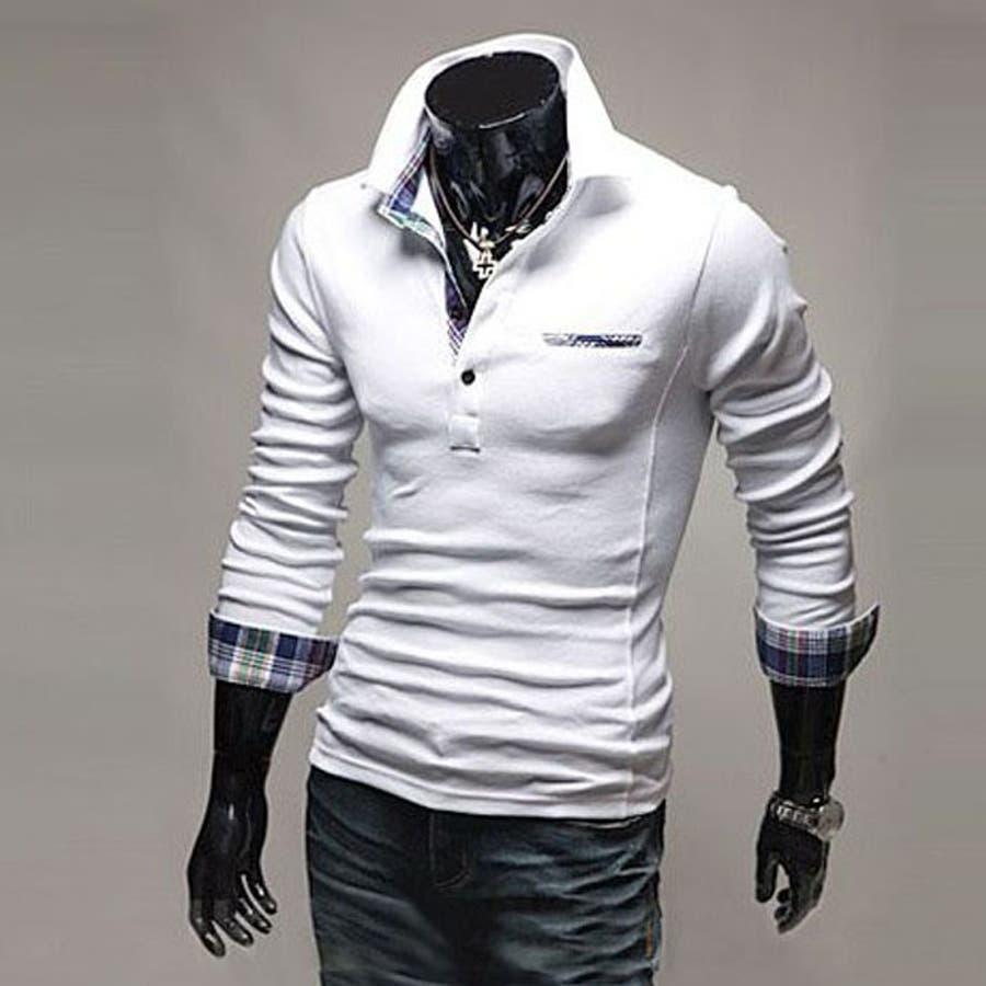 ポロシャツ メンズ Tシャツ カットソー 長袖 ロンT チェック ゴルフウェア トップス カジュアル コーデ 7