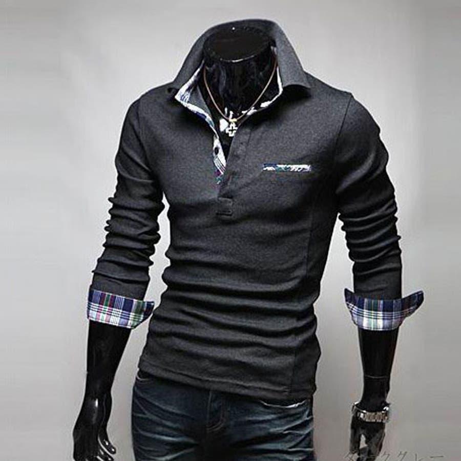 ポロシャツ メンズ Tシャツ カットソー 長袖 ロンT チェック ゴルフウェア トップス カジュアル コーデ 25