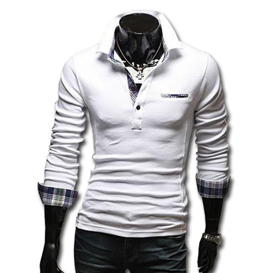 ポロシャツ メンズ Tシャツ カットソー 長袖 ロンT チェック ゴルフウェア トップス カジュアル コーデ 16
