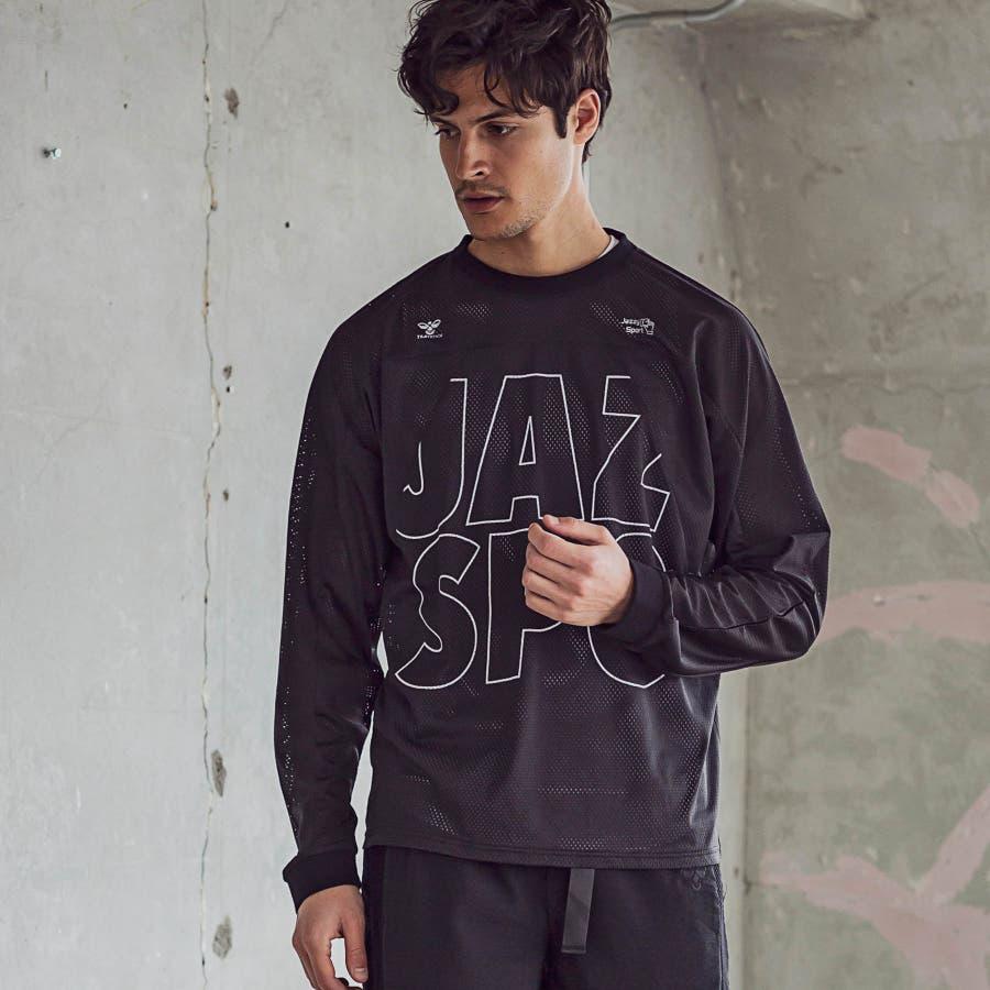hummel ヒュンメル × Jazzy Sport ジャジースポート 切替 メッシュ ロング Tシャツ トップス コラボ メンズおしゃれ ブランド 1