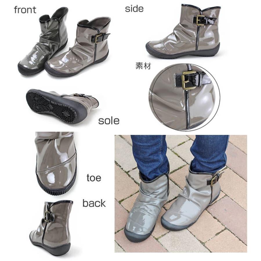 レインブーツ ショート ギャザー カジュアル グリップ性が強く雨でも雪でも安心 レディース ショート 長靴 コーデ 人気 ゴムシンプル ロングブーツ 雨の日 エナメル 通勤 日本製 防寒 通学 雨靴 3