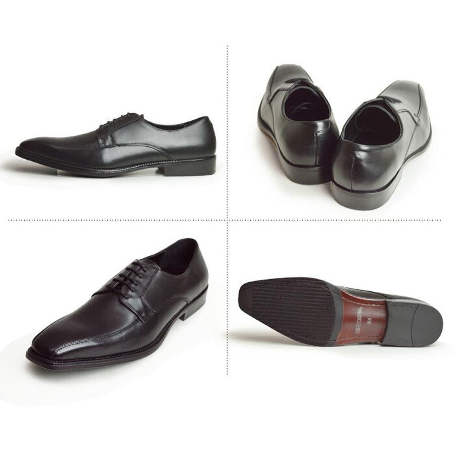 本革 ビジネスシューズ ビジネス メンズ レザー 衝撃吸収 屈曲 外羽根 スワールモカシン レースアップ スクエアトゥ 革靴 紳士靴シューズ 靴 メンズシューズ 2