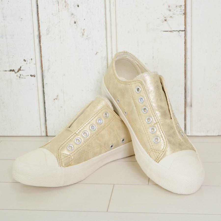 普通に可愛いです! 脱ぎ履き楽チン紐なしスニーカー♪カジュアルでかわいいローヒールスリッポン。白底のフラットシューズでシンプルなゴールドのぺたんこシューズはおしゃれなレディース靴 経過