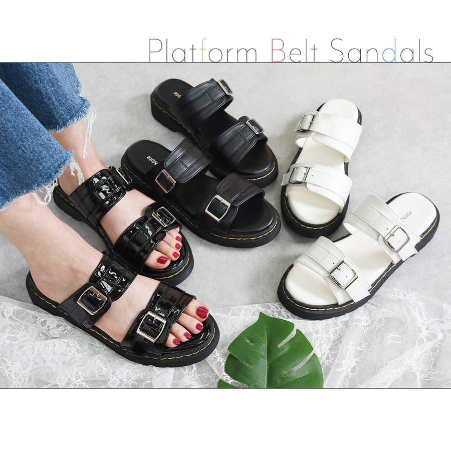 サンダル レディース 重厚感 ベルト 大きいサイズ シンプル おしゃれ カジュアル かっこいい 黒 ブラック ホワイトエナメルモノトーン レディース靴 4