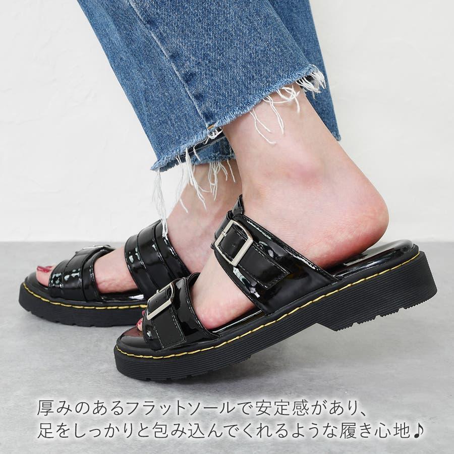 サンダル レディース 重厚感 ベルト 大きいサイズ シンプル おしゃれ カジュアル かっこいい 黒 ブラック ホワイトエナメルモノトーン レディース靴 5