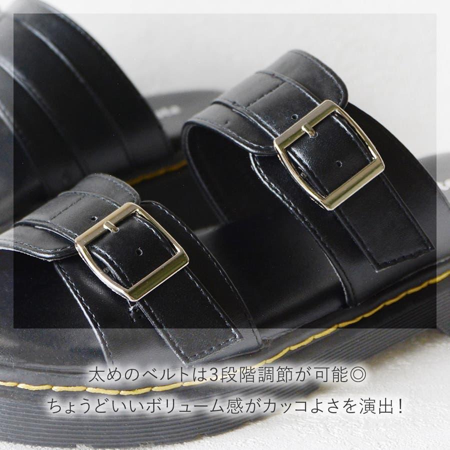 サンダル レディース 重厚感 ベルト 大きいサイズ シンプル おしゃれ カジュアル かっこいい 黒 ブラック ホワイトエナメルモノトーン レディース靴 6