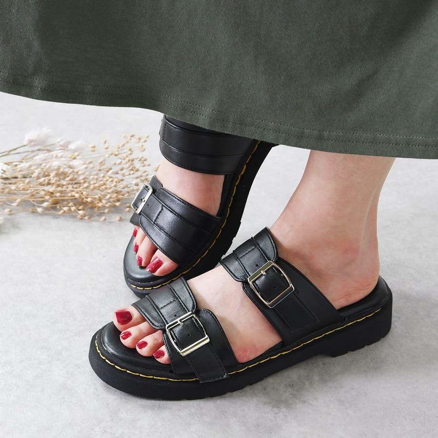 サンダル レディース 重厚感 ベルト 大きいサイズ シンプル おしゃれ カジュアル かっこいい 黒 ブラック ホワイトエナメルモノトーン レディース靴 22
