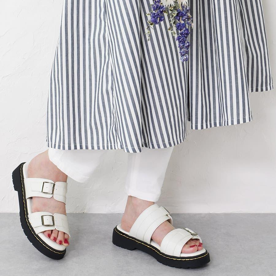 サンダル レディース 重厚感 ベルト 大きいサイズ シンプル おしゃれ カジュアル かっこいい 黒 ブラック ホワイトエナメルモノトーン レディース靴 20