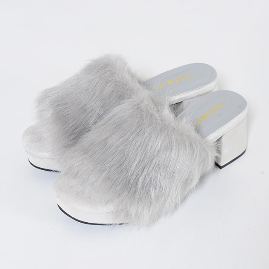 秋新作 ファーサンダル 靴 もこもこ ファー サンダル ボリューム 楽ちん ワイドヒール レディース ドレス オフィス 2