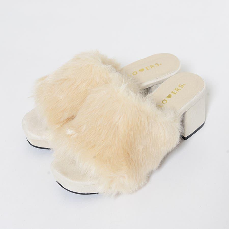 秋新作 ファーサンダル 靴 もこもこ ファー サンダル ボリューム 楽ちん ワイドヒール レディース ドレス オフィス 3