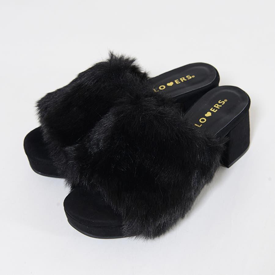 秋新作 ファーサンダル 靴 もこもこ ファー サンダル ボリューム 楽ちん ワイドヒール レディース ドレス オフィス 4