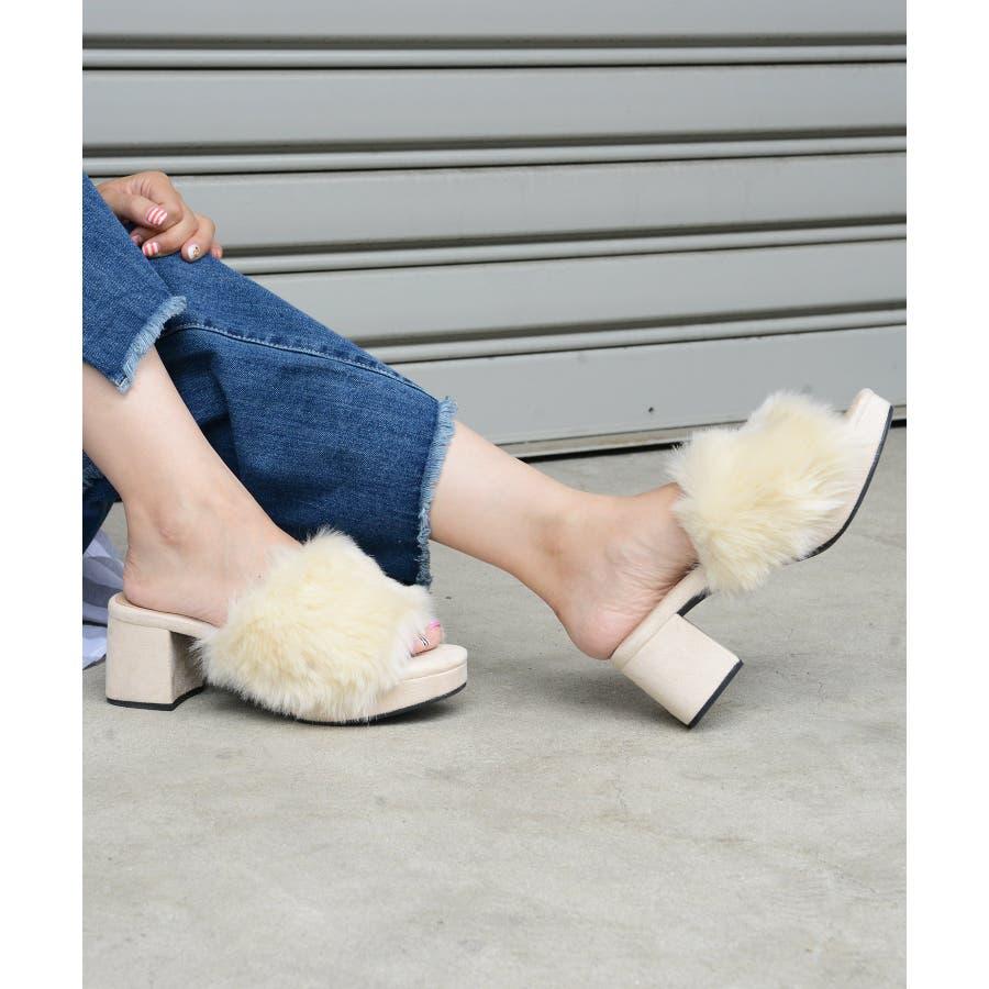 秋新作 ファーサンダル 靴 もこもこ ファー サンダル ボリューム 楽ちん ワイドヒール レディース ドレス オフィス 16