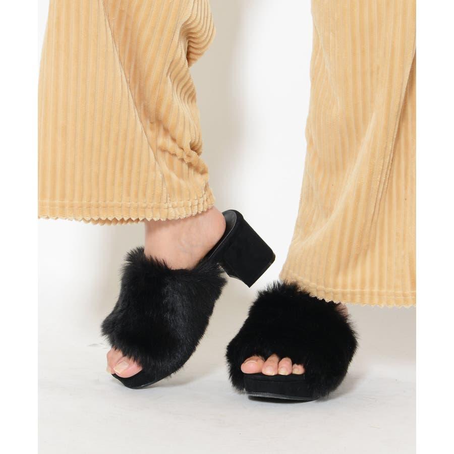 秋新作 ファーサンダル 靴 もこもこ ファー サンダル ボリューム 楽ちん ワイドヒール レディース ドレス オフィス 21
