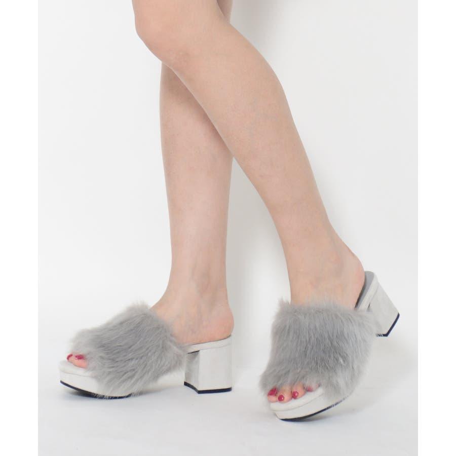 秋新作 ファーサンダル 靴 もこもこ ファー サンダル ボリューム 楽ちん ワイドヒール レディース ドレス オフィス 24