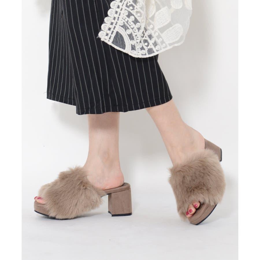 秋新作 ファーサンダル 靴 もこもこ ファー サンダル ボリューム 楽ちん ワイドヒール レディース ドレス オフィス 41