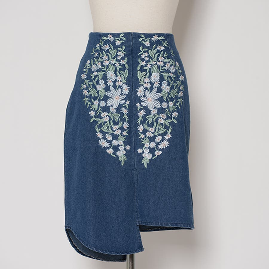 秋新作 刺繍デニムデザインカットスカート ma レディース ボトムス スカート デニム タイトスカート 刺繍 デザイン 上品ベーシック シンプル 7