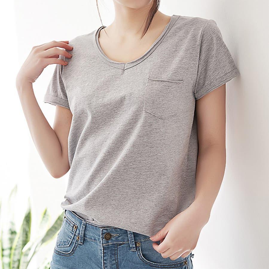 春新作 ポケット付きVネックTシャツ ma 5