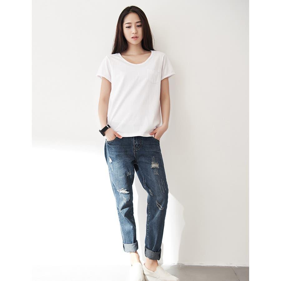 春新作 ポケット付きVネックTシャツ ma 7