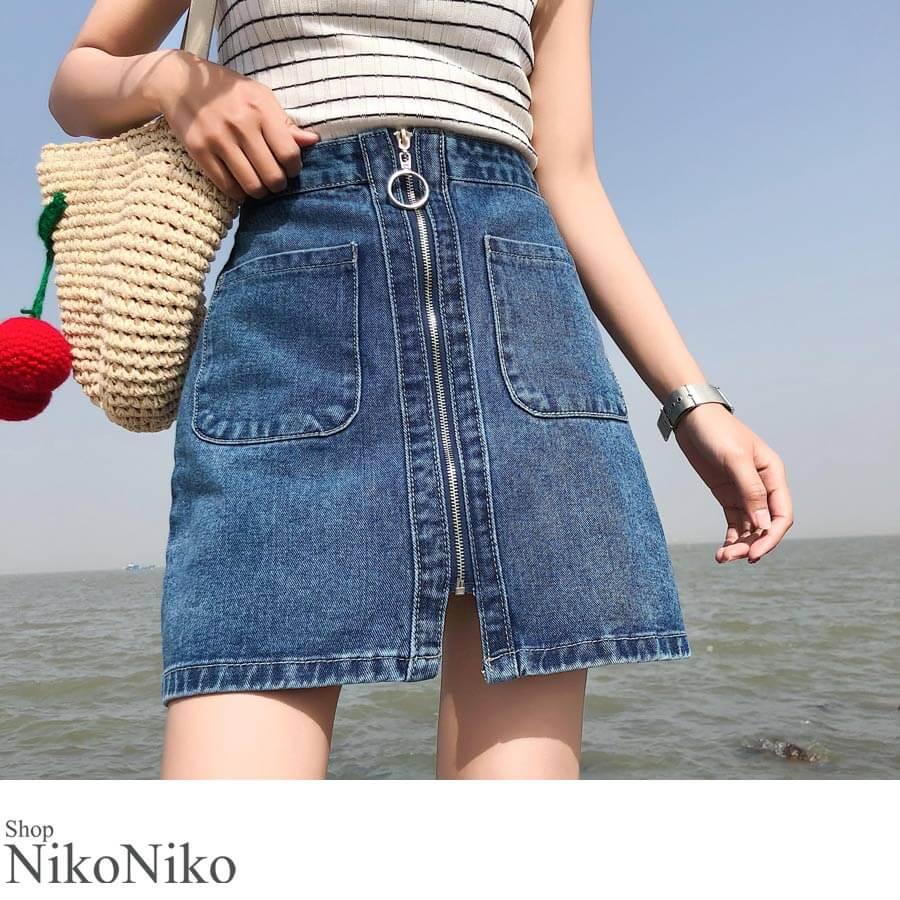 秋新作 フロントZIP台形ミニスカート ボトムス 女性 レディース スカート 台形ミニ ミニスカート デニム ジーンズ 1