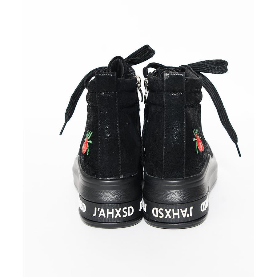 冬新作 刺繍ロゴハイカットスニーカー シューズ 靴 レディース スニーカー 刺繍 6