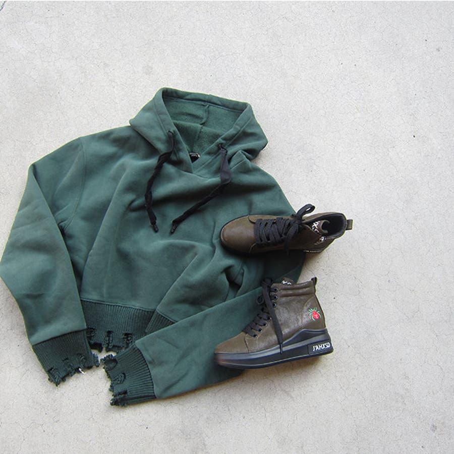 冬新作 刺繍ロゴハイカットスニーカー シューズ 靴 レディース スニーカー 刺繍 9