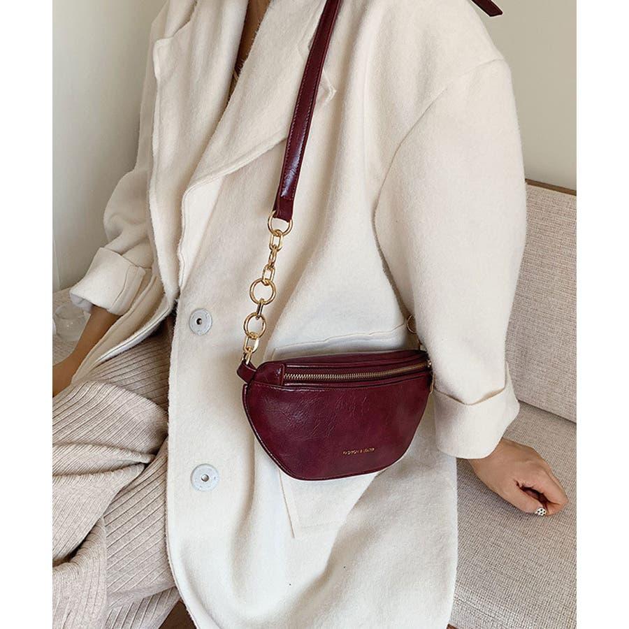 冬新作 レザー調ウエストポーチ 鞄 バッグ ウエストポーチ フェイクレザー チェーン レディース 韓国ファッション Instagram 5