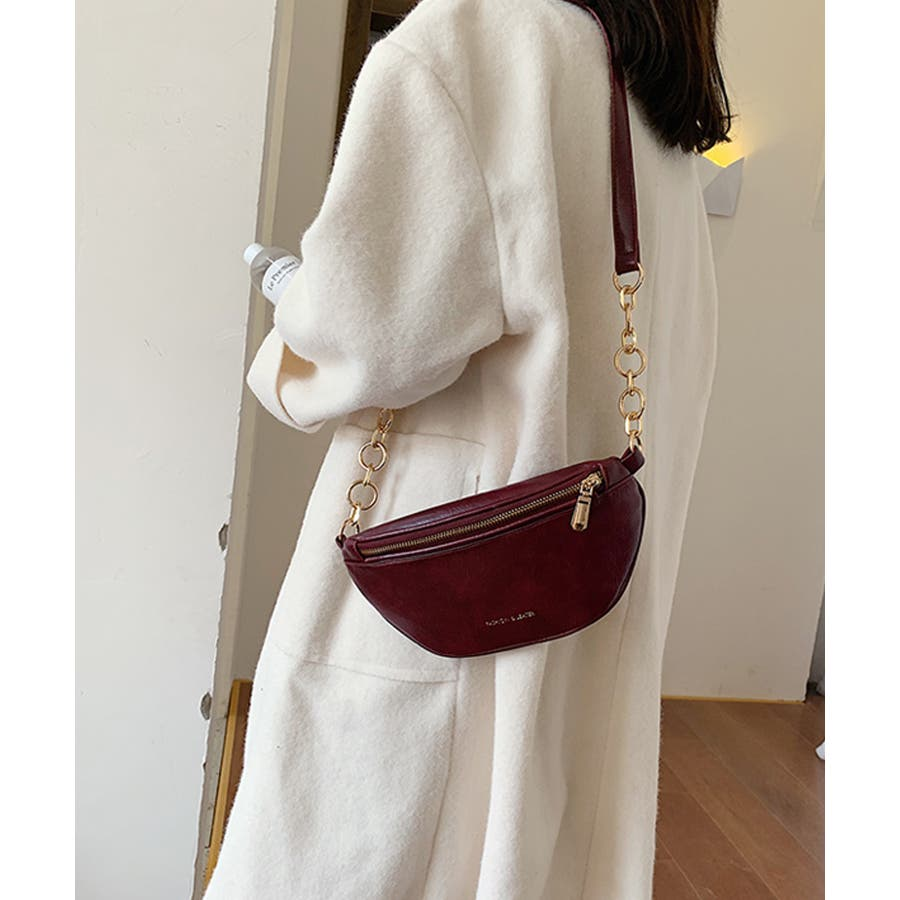 冬新作 レザー調ウエストポーチ 鞄 バッグ ウエストポーチ フェイクレザー チェーン レディース 韓国ファッション Instagram 7