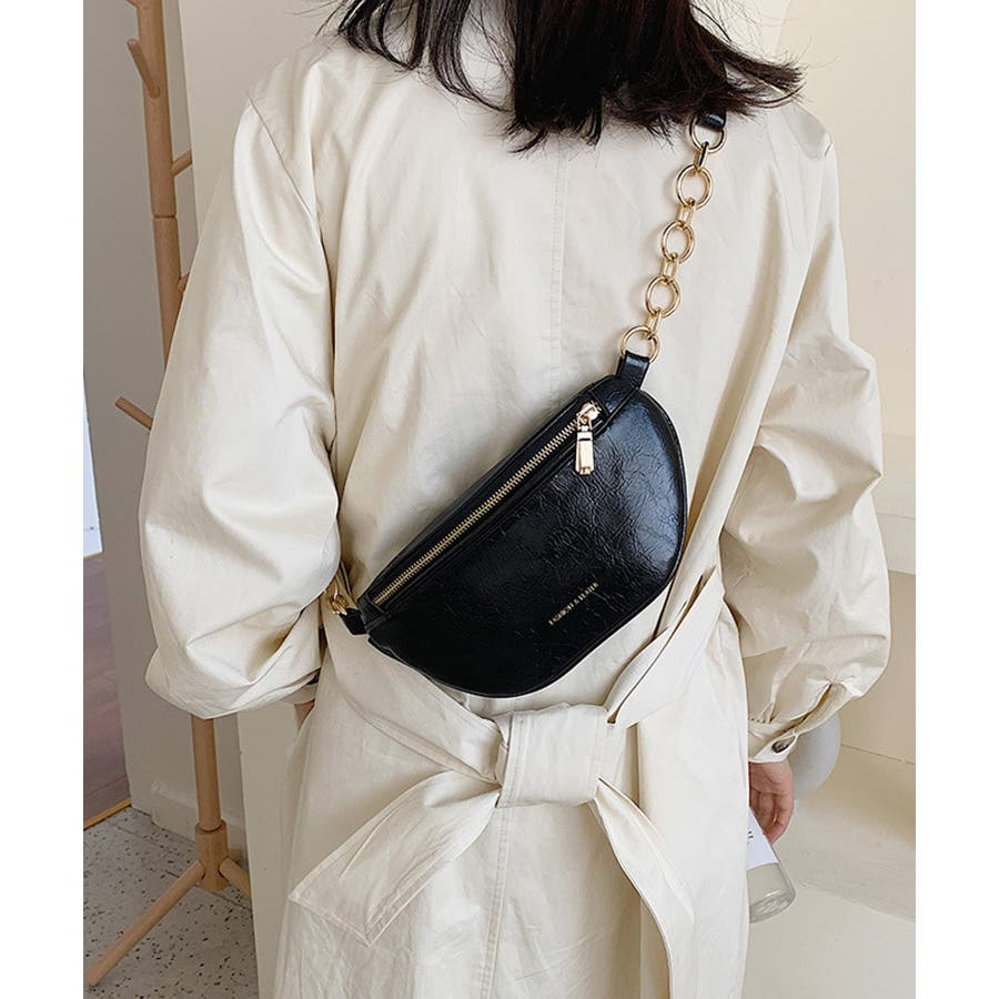 冬新作 レザー調ウエストポーチ 鞄 バッグ ウエストポーチ フェイクレザー チェーン レディース 韓国ファッション Instagram 21